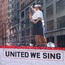 Singing on the U-Haul float check out our name on the side!