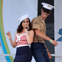 Dancing with a marine during Fleet Week 2011 on the Intrepid